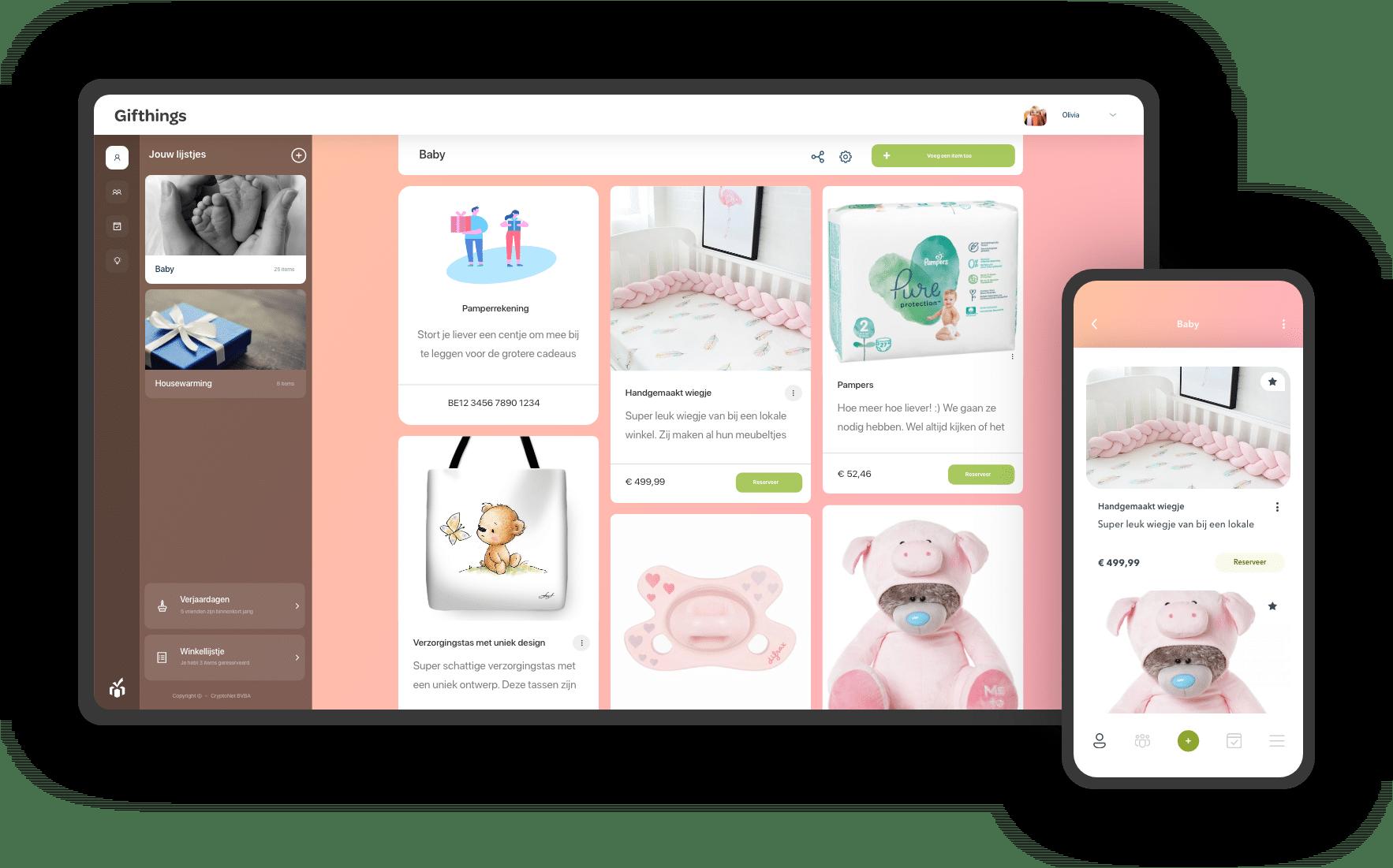 geboortelijst schermen mobiel desktop